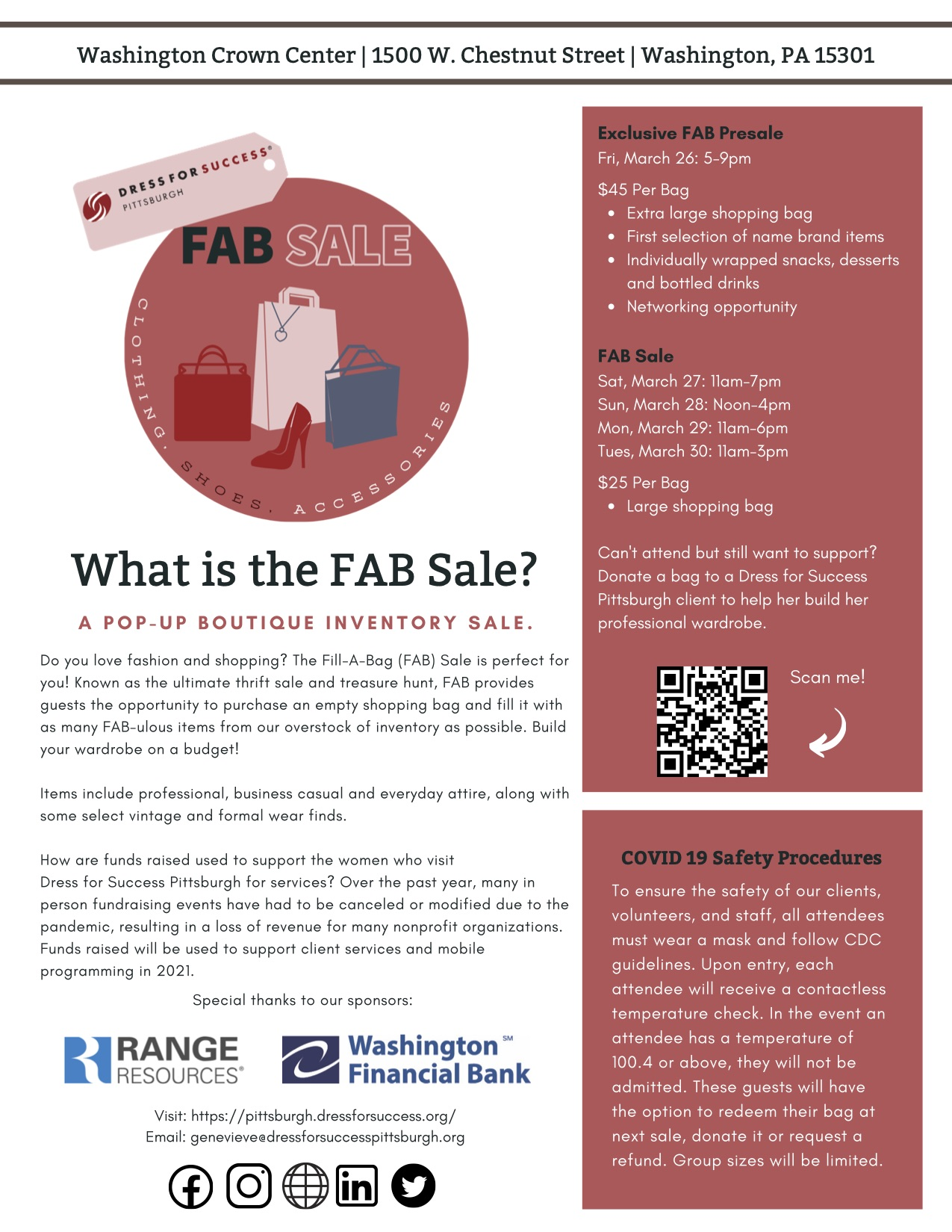 Information regarding the fill a bag sale at Washington Crown Center. There is also a QR code to scan for more information. Bags are 45 dollars a piece and the sale is March 27 through March 30. Saturday 11am-7pm Sunday 12pm-4pm Monday 11am-6pm Tuesday 11am-3pm