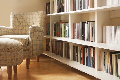book shelf and chair