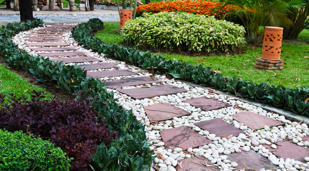 pebble stone walkway
