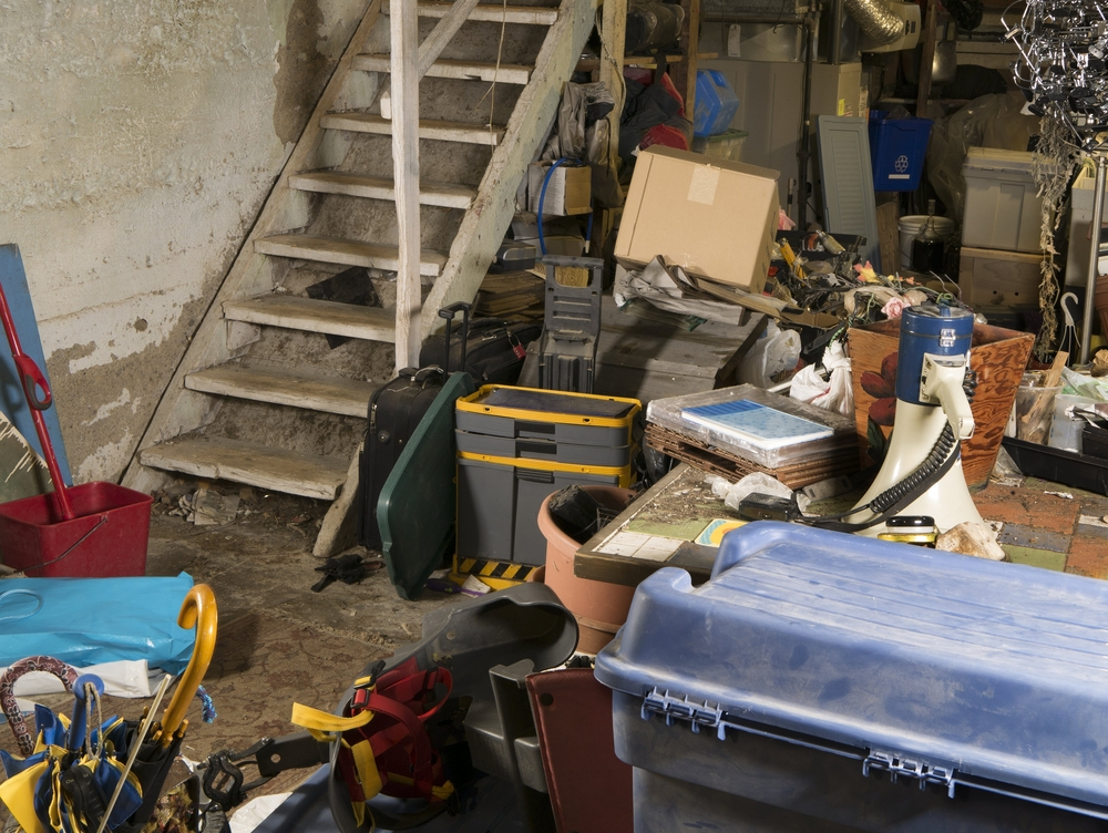 dirty basement being used as storage