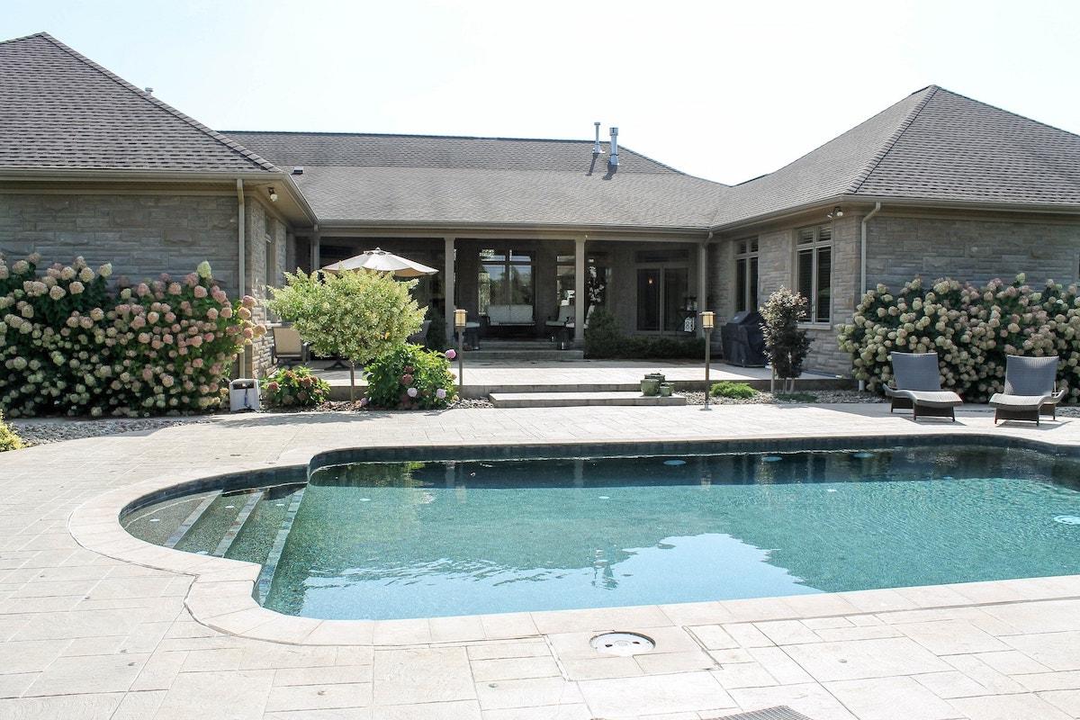 Pool behind a house