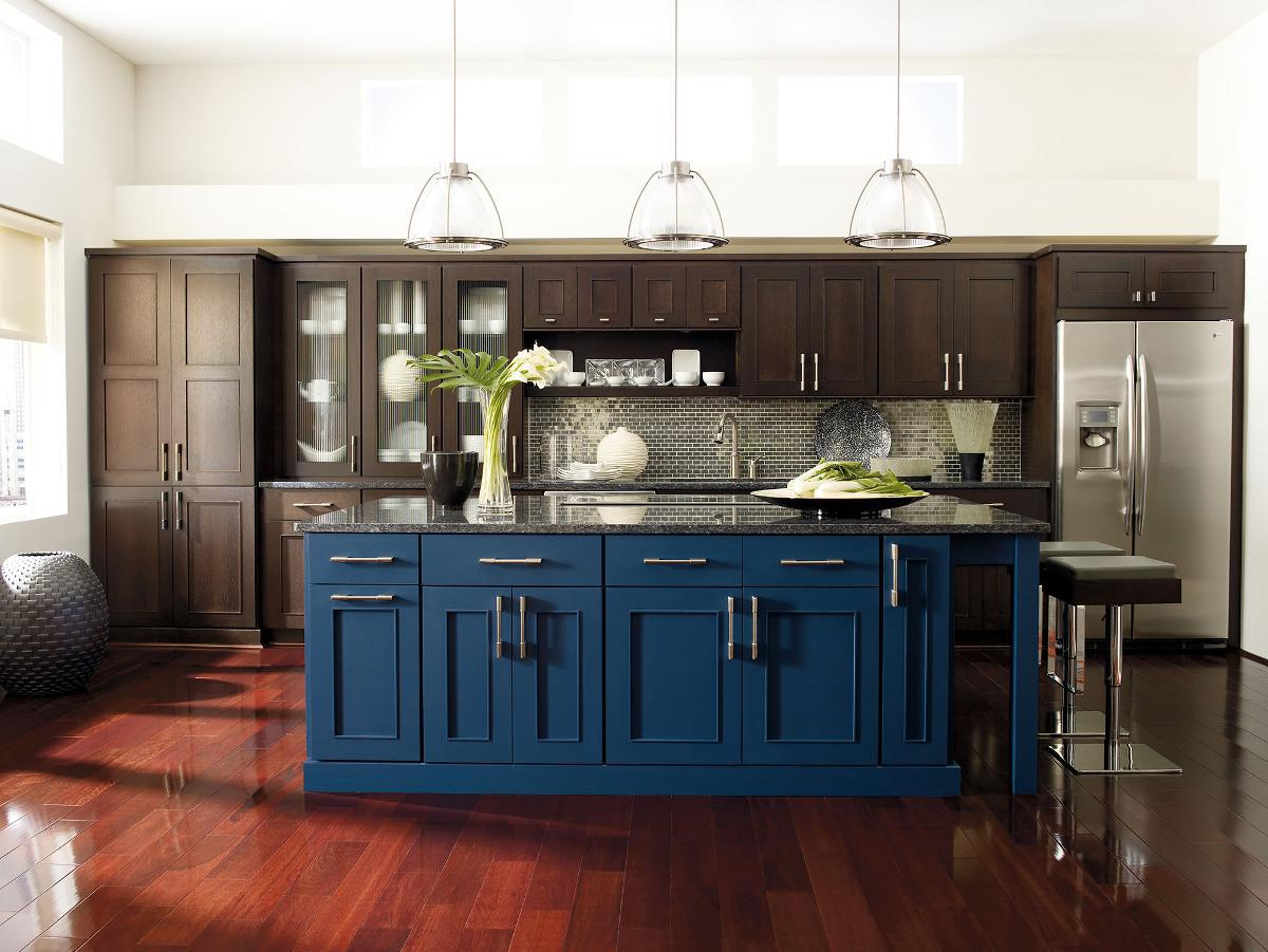 kitchen island blue cupboards