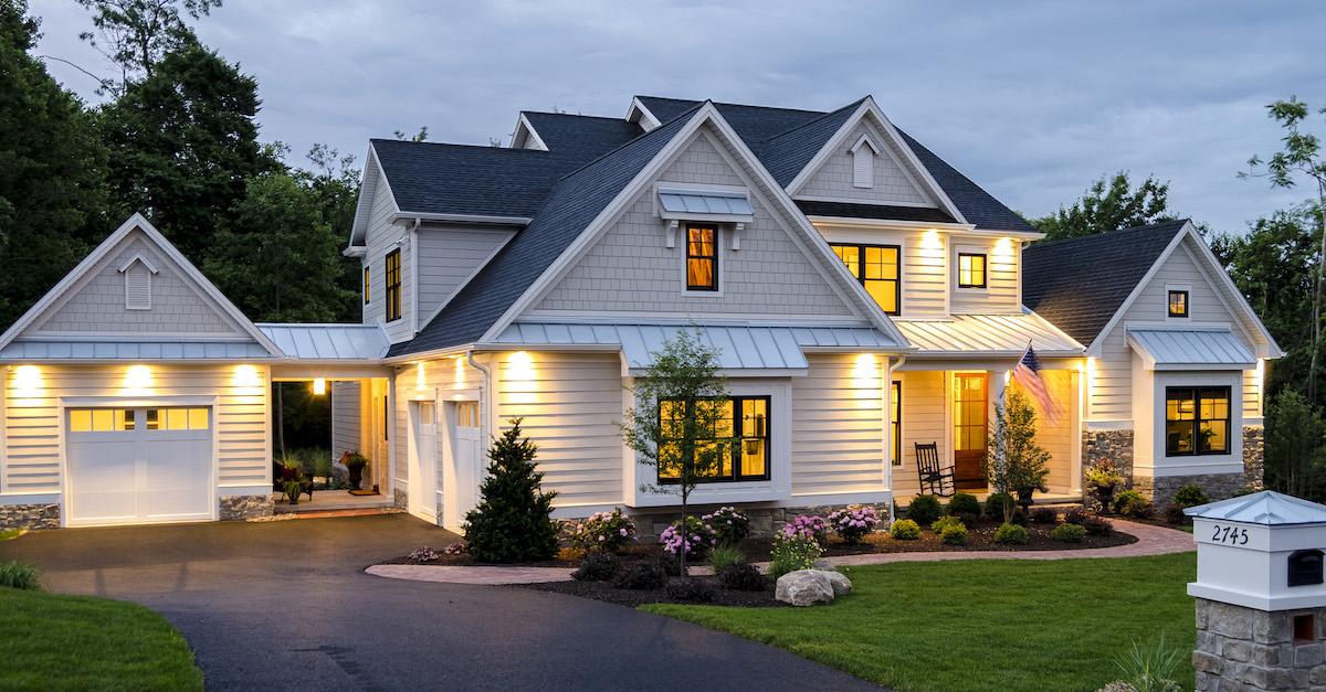exterior white custom home