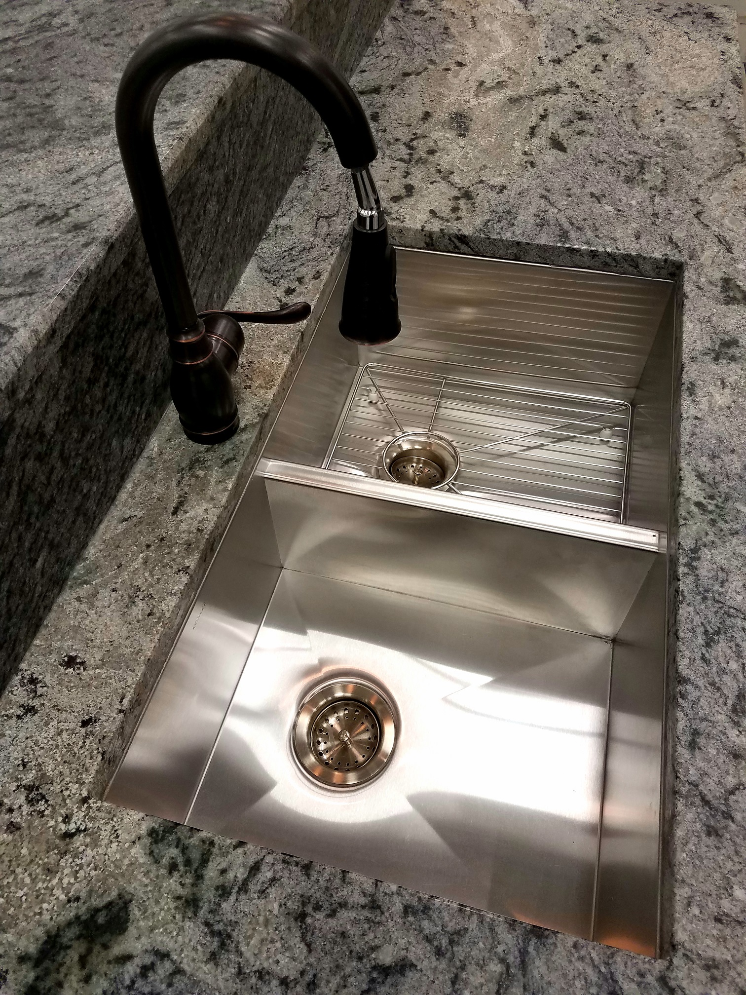 new sink with granite counter