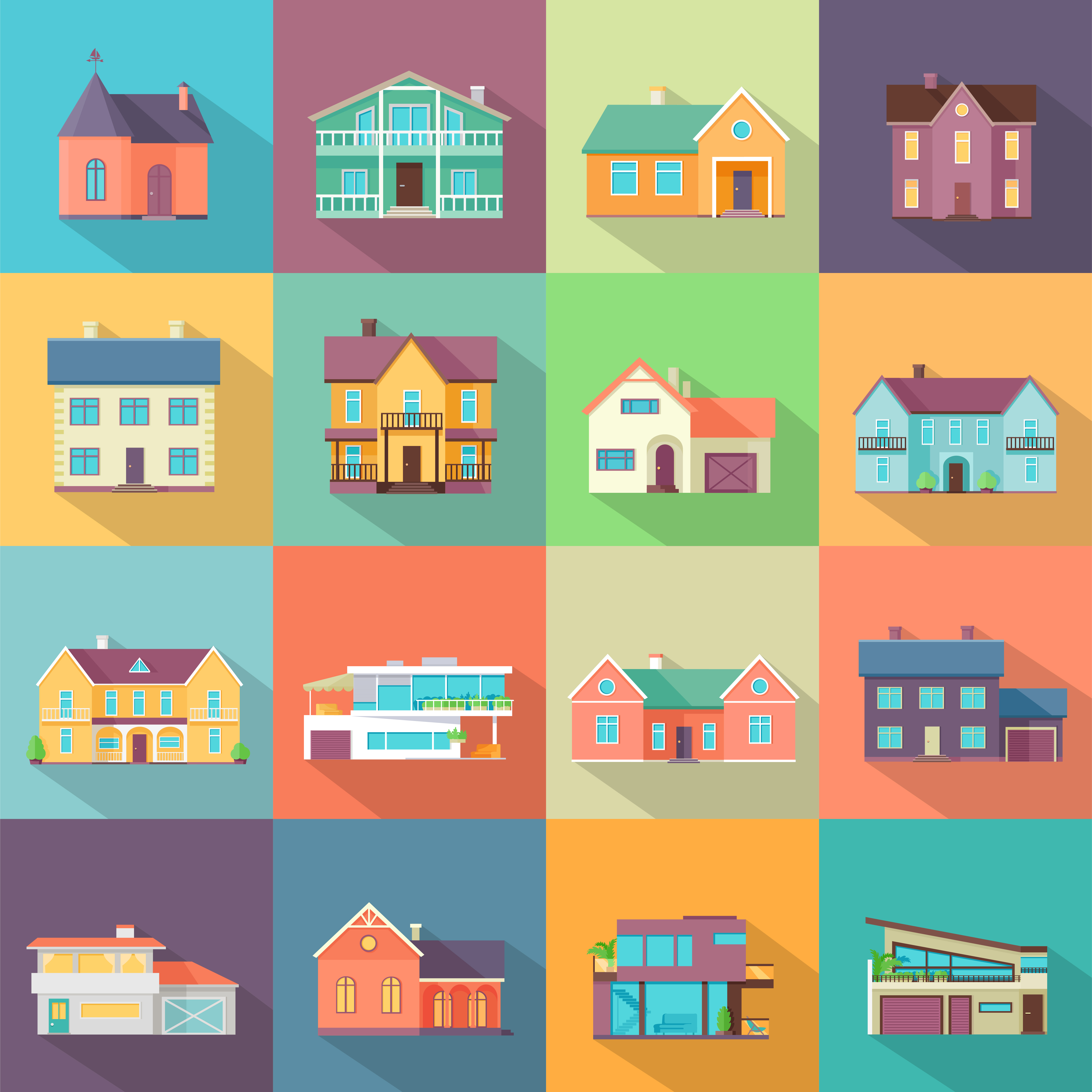 Different styles of home icons