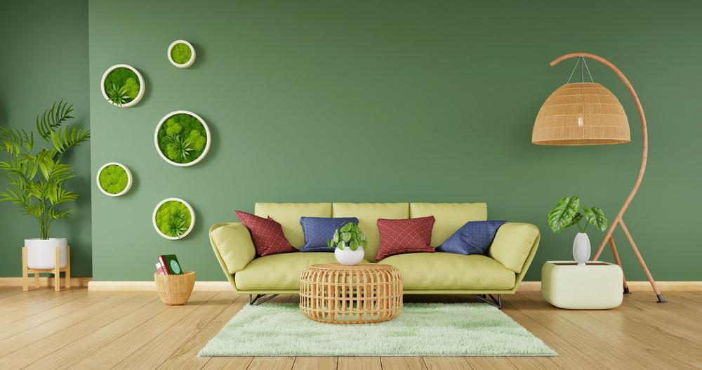 Modern home decor with green sofa