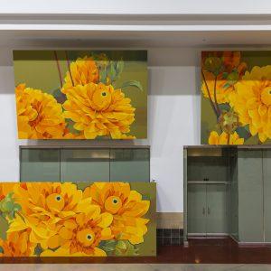 Yellow flower mural by Gleo