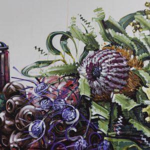Street art mural of wildflowers by Scott Marsh