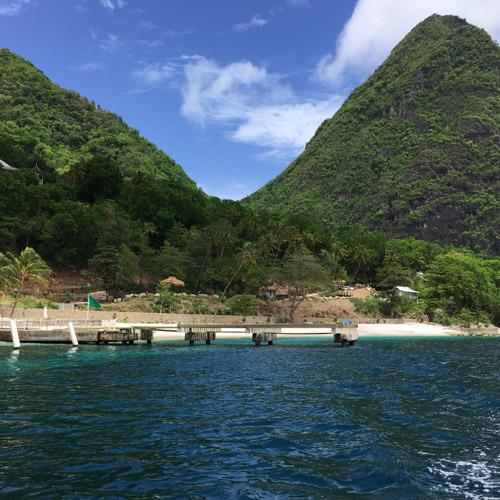 Bay on St Lucia Caribbean