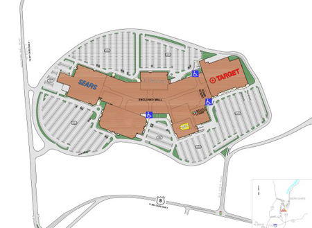 Aerial map of mall with parking lots and surrounding roads