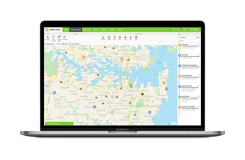 Map job locations with ServiceM8