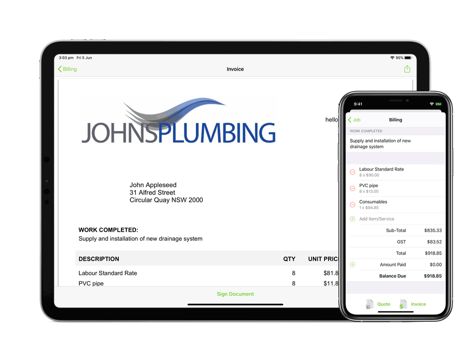 Invoicing on iPad and iPhone