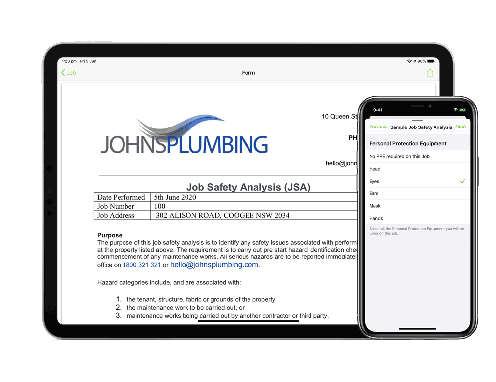 Digital forms on iPad and iPhone app