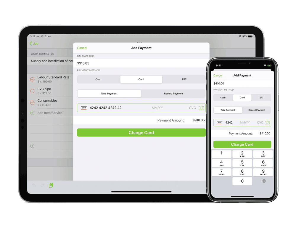 Card payment processing on Ipad and iPhone apps