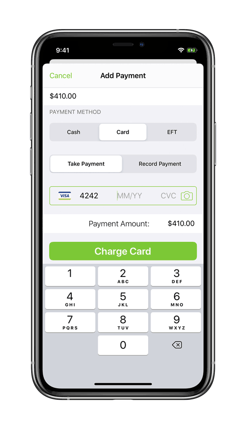 Processing credit card payment on iPhone