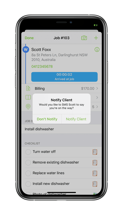 Notify text en-route to address