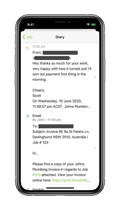Customer email replies through ServiceM8