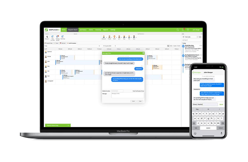 Staff messaging between Macbook and iPhone