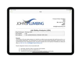 JSA digital form on iPad