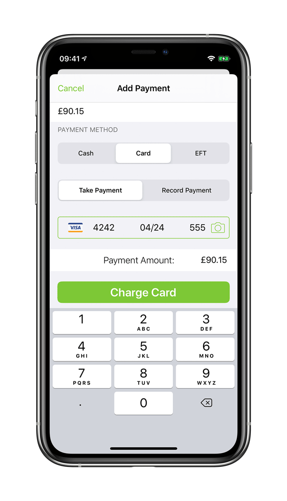 Processing card payment in ServiceM8 iPhone