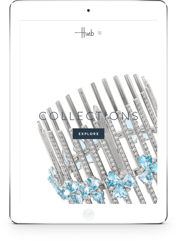 Hueb Jewellery Website on iPad