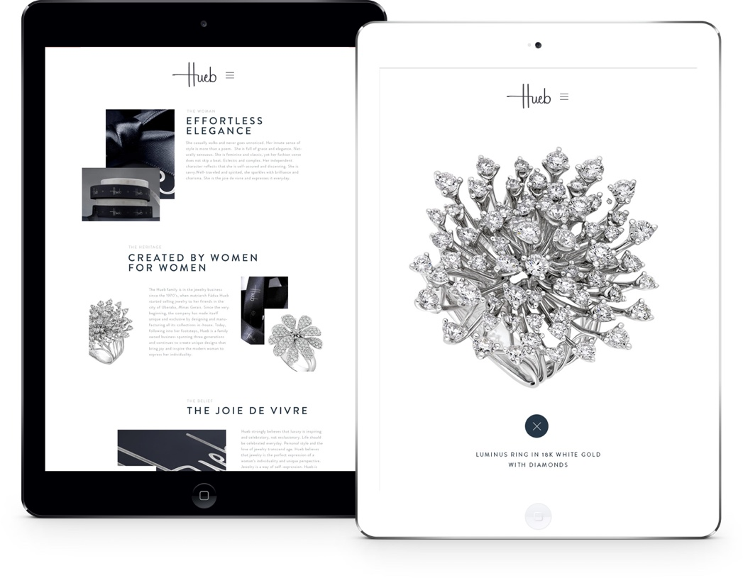 Hueb Jewellery Website on Tablet