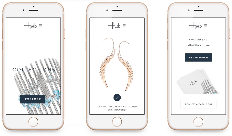 Hueb Jewellery Website on mobile