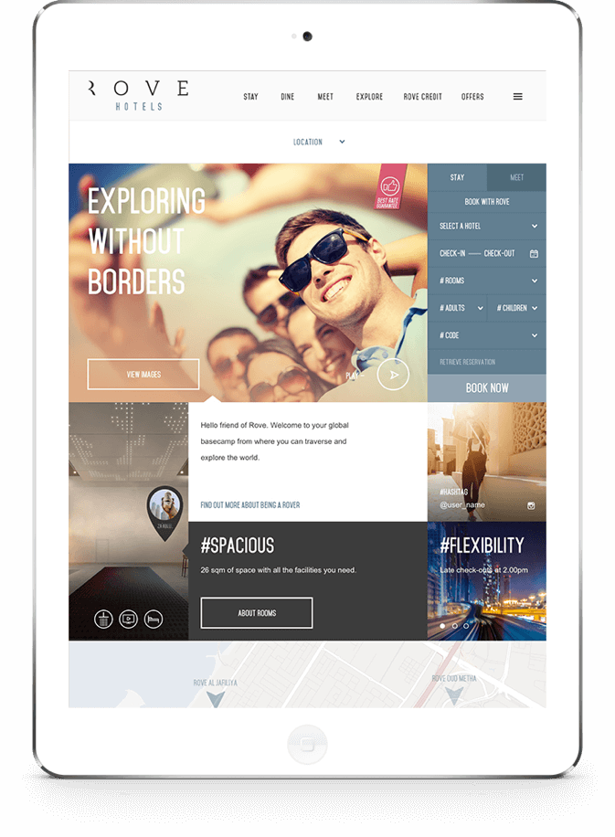 Rove Hotel Website on Tablet