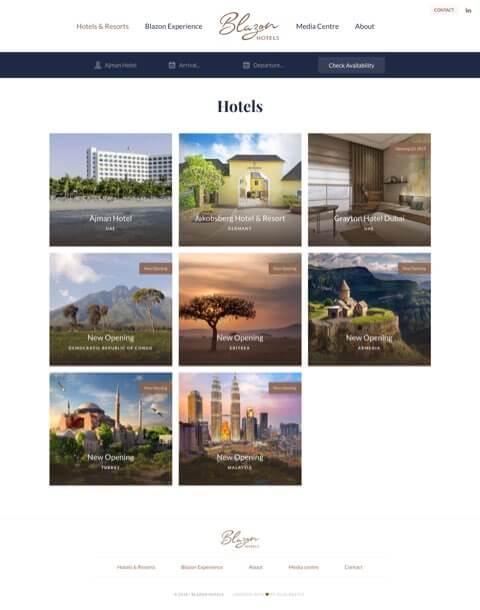 Hospitality website