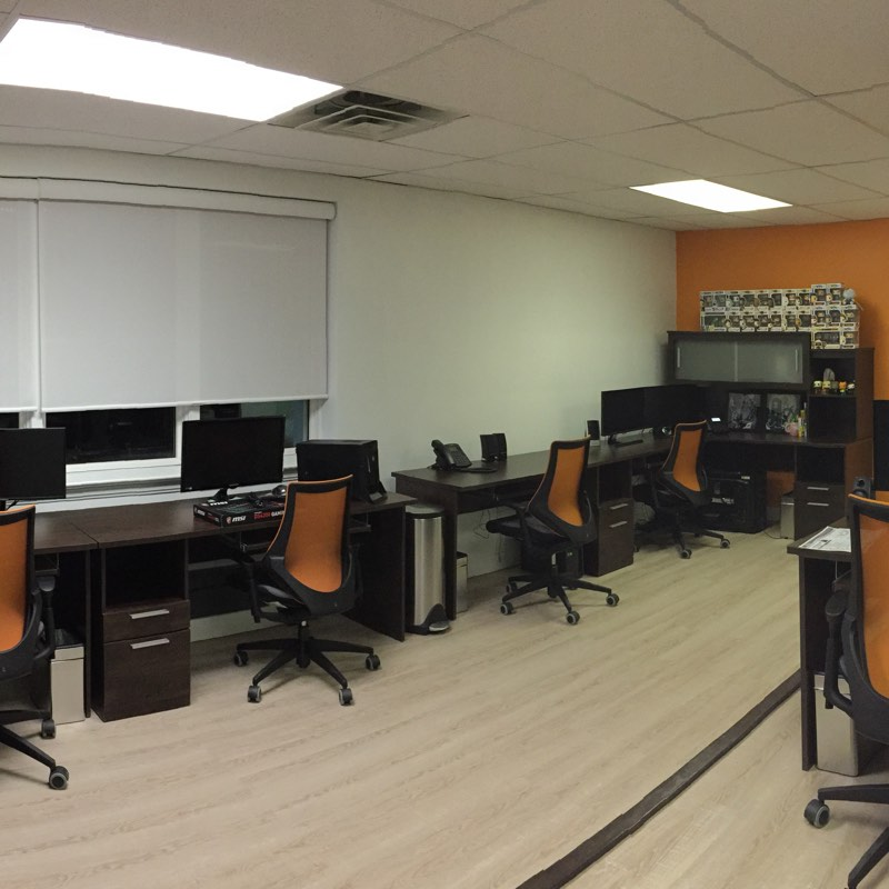 A commercial office looks bright and clean after being cleaned by Hutchison Maintenance.
