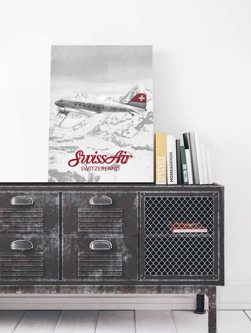 LEKKA- Swiss Air DC-3 print on Wood