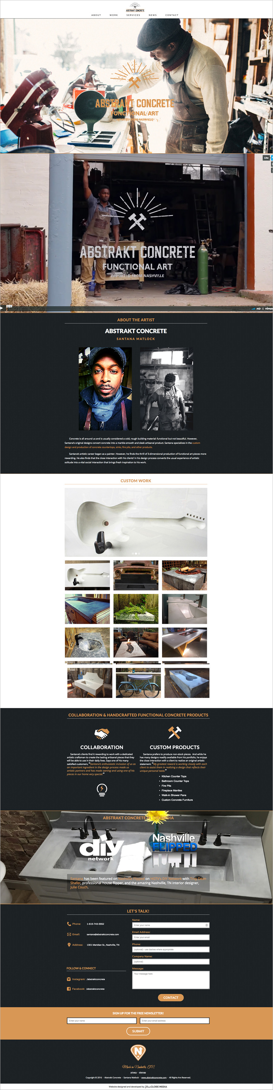 One page website for - Nashville Artisan