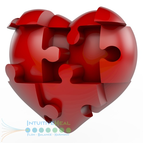 Image of 3D heart with puzzle pieces embedded