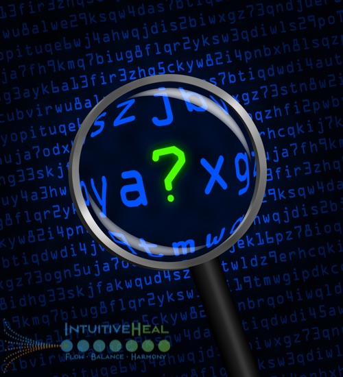 Image of magnifying glass over text, focused on a question mark