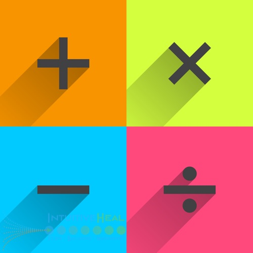 Image of add, subtract, multiply, and divide symbols on colorful backgrounds