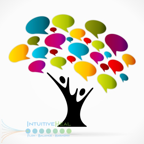 Image of tree with people and colorful thought bubbles coming out of it