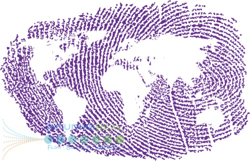 Image of fingerprint with the earth map superimposed
