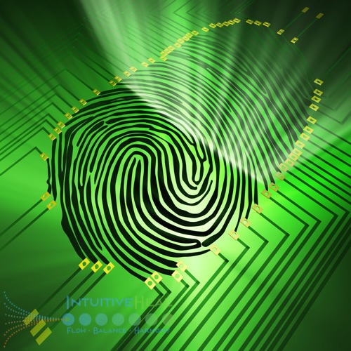 Image of fingerprint connected to electronic circuit