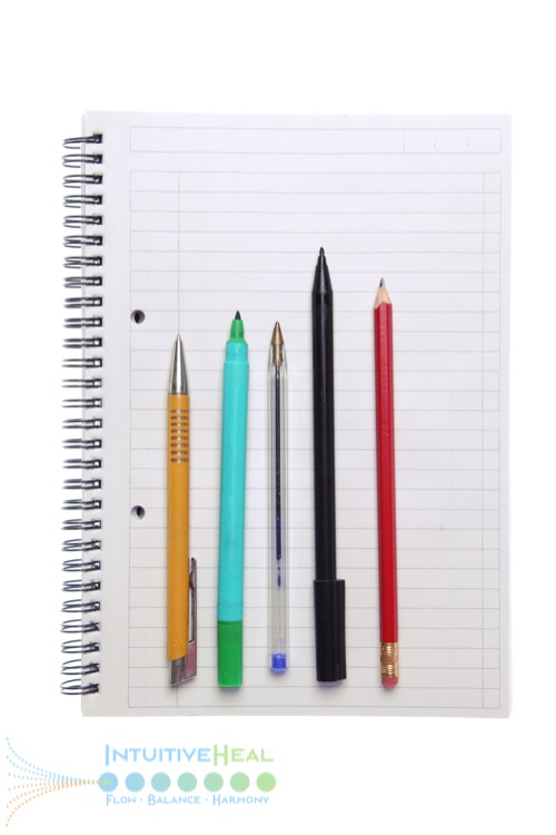 Photo of various writing utensils resting on an open spiral notebook
