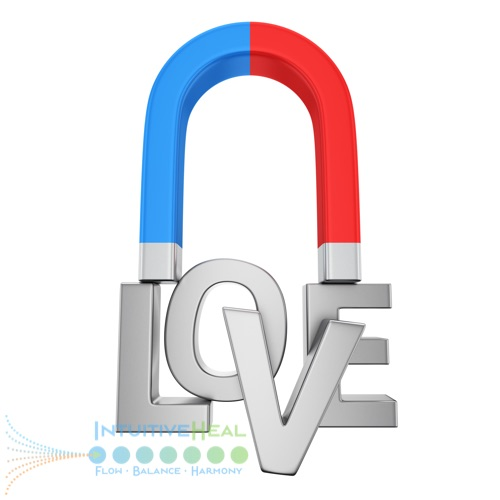 Image of the word LOVE with a magnet attracted to it
