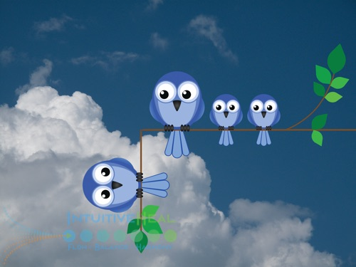 Image of cartoon owls on a branch with a 90 degree bend in it