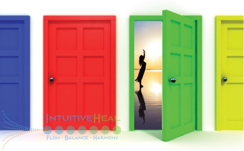 Photo of four doors with an open one showing a woman raises her arms to the sun