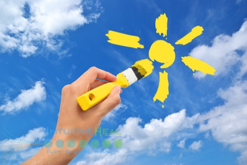 Image of yellow painted sun against sky photo