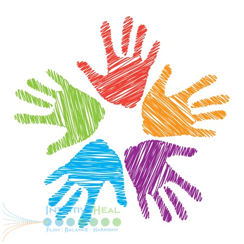 Image of five colorful handprints