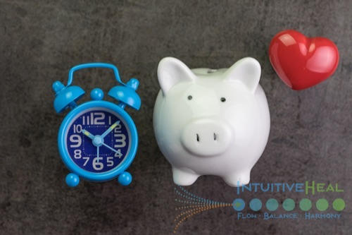 Image of clock, pig, and heart