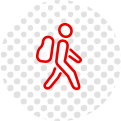 guy walking backpack icon