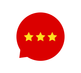 speech bubble three stars