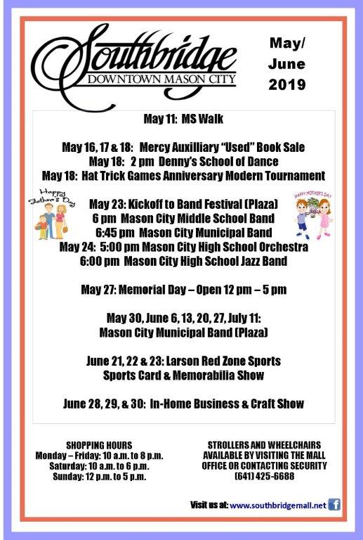 Soutbridge Mall events for May and June