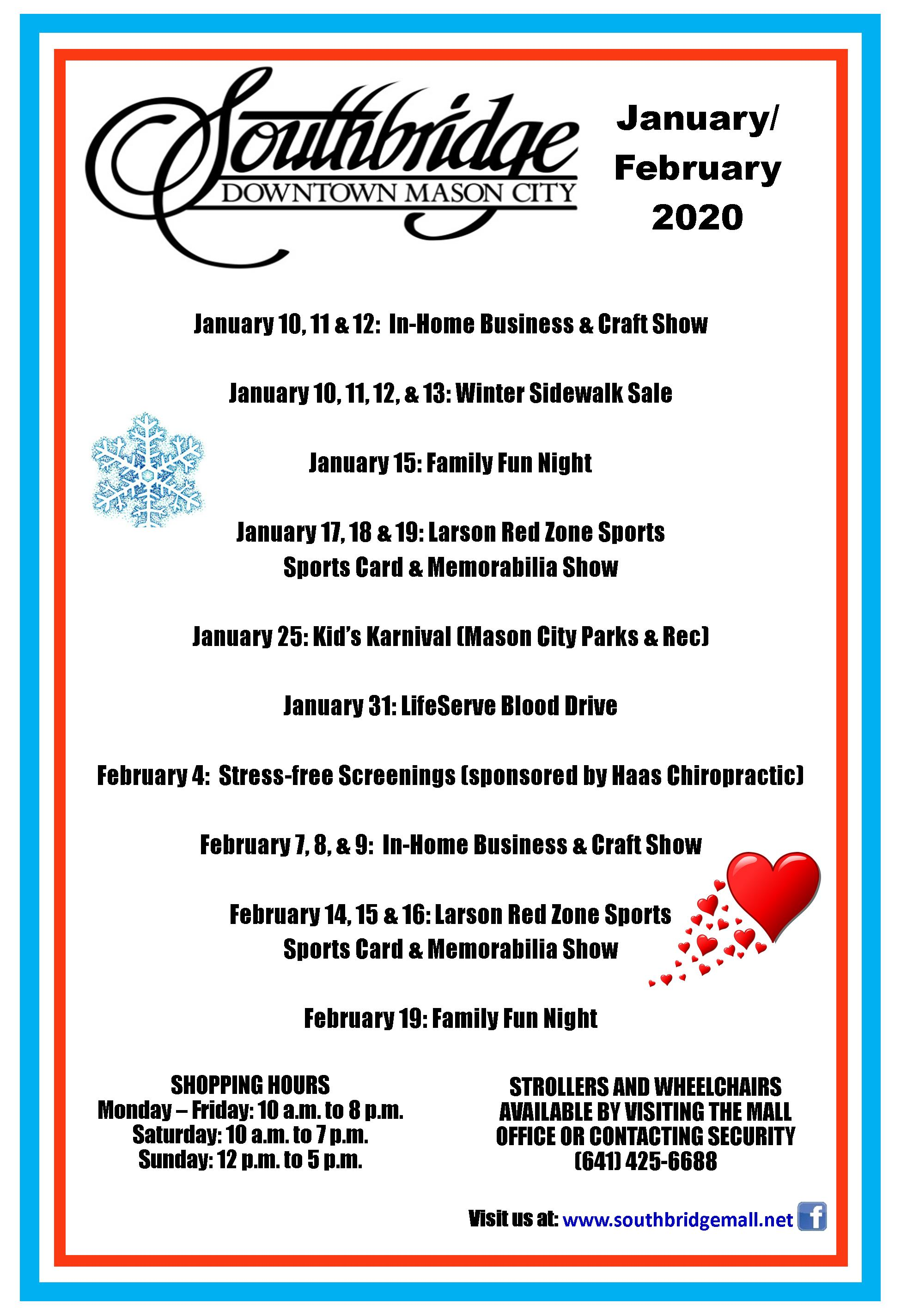 January and February Southbridge Mall events