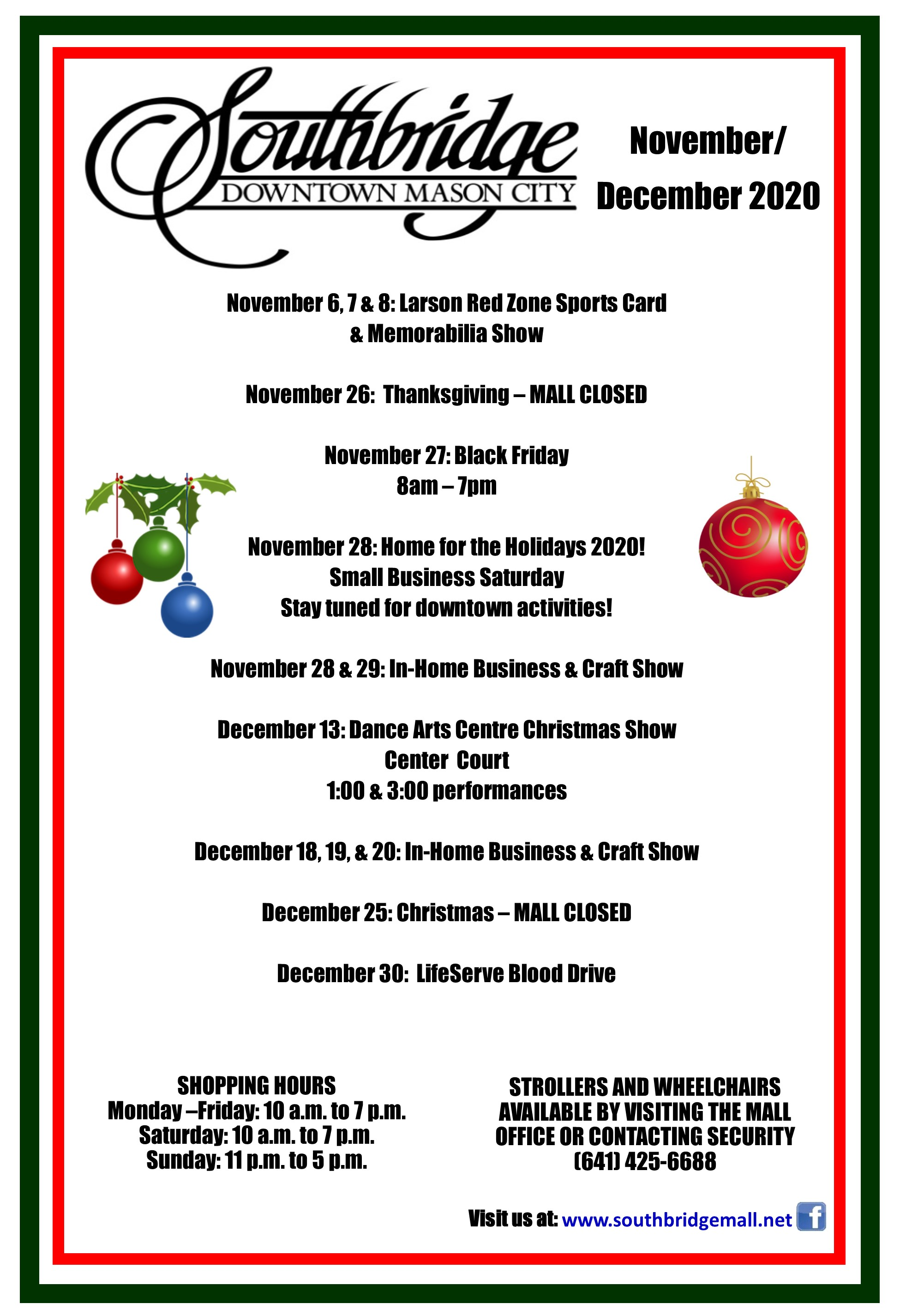 November and December 2020 Southbridge Mall events